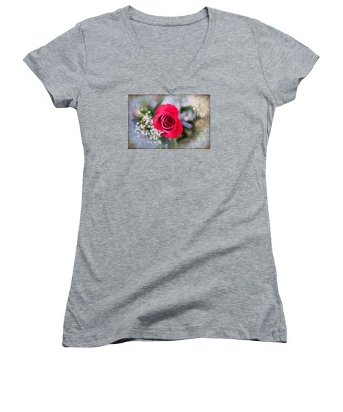 Red Rose Elegance Women's V-Neck T-Shirt (Junior Cut) by Milena Ilieva