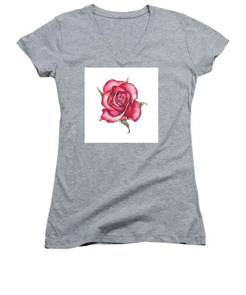 Women's V-Neck T-Shirt (Junior Cut) featuring the painting Red Rose by Heidi Kriel