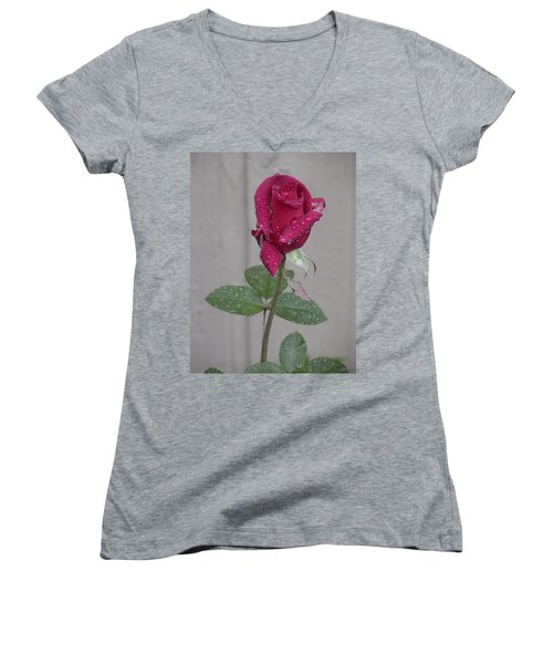 Red Rose In Rain Women's V-Neck (Athletic Fit)