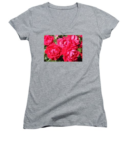 Red Roses 1 Women's V-Neck (Athletic Fit)