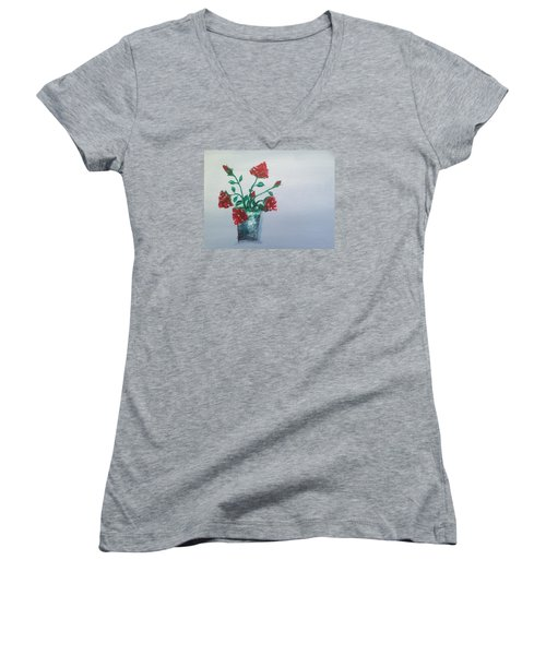 Red Roses In Silver Pot Women's V-Neck T-Shirt (Junior Cut) by Roxy Rich