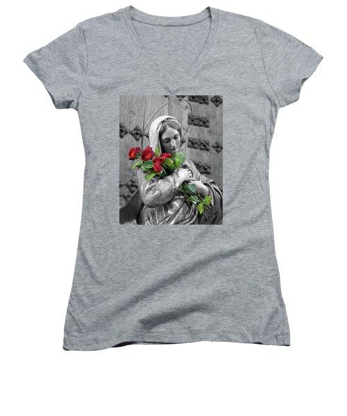 Red Roses Women's V-Neck T-Shirt (Junior Cut) by Munir Alawi