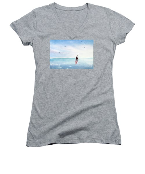 Red Sails On A Blue Sea Women's V-Neck T-Shirt