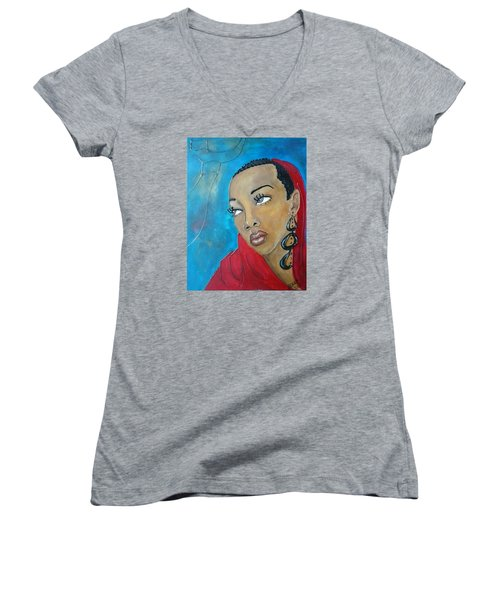 Red Scarf Women's V-Neck T-Shirt (Junior Cut) by Jenny Pickens