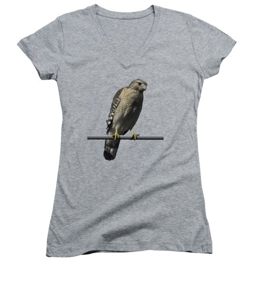 Red-shouldered Hawk Transparency Women's V-Neck T-Shirt