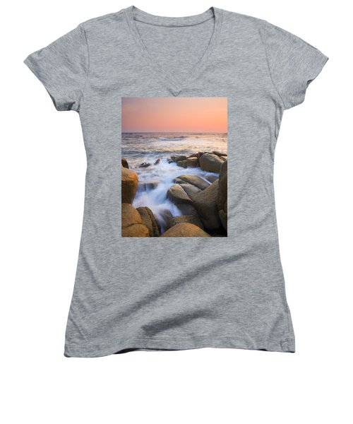 Red Sky At Morning Women's V-Neck T-Shirt (Junior Cut) by Mike  Dawson