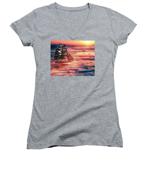 Red Sky In The Morning.... Sailors Take Warning Women's V-Neck (Athletic Fit)
