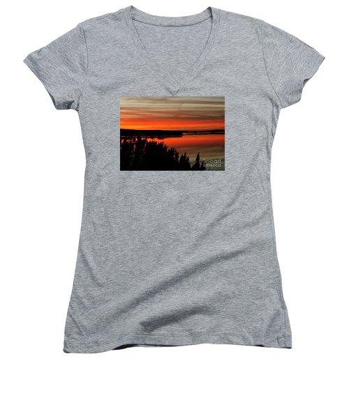 Red Sky On The Illinois River Women's V-Neck T-Shirt