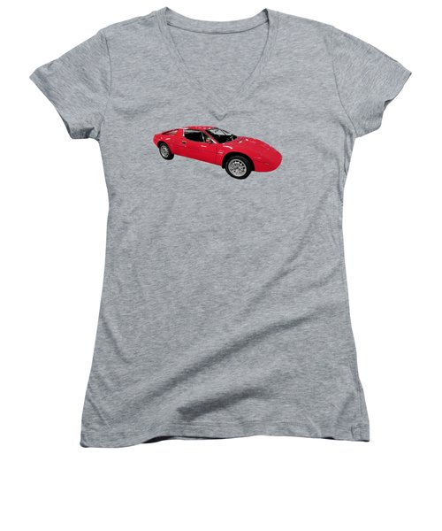Red Sport Car Art Women's V-Neck