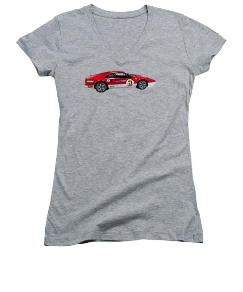 Red Sports Racer Art Women's V-Neck