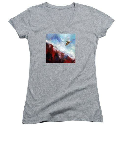 Women's V-Neck T-Shirt (Junior Cut) featuring the painting Red Tail by David  Maynard