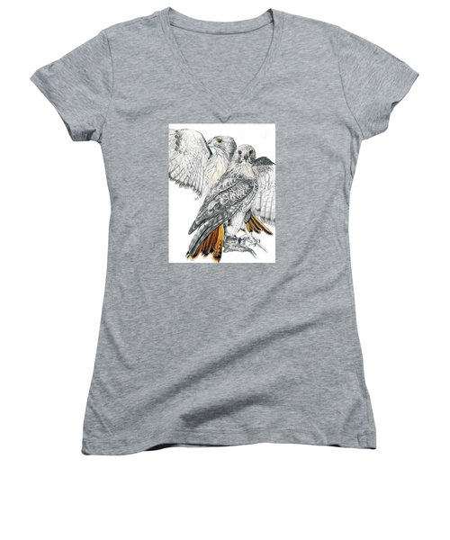 Red-tailed Hawk Women's V-Neck T-Shirt (Junior Cut) by Barbara Keith