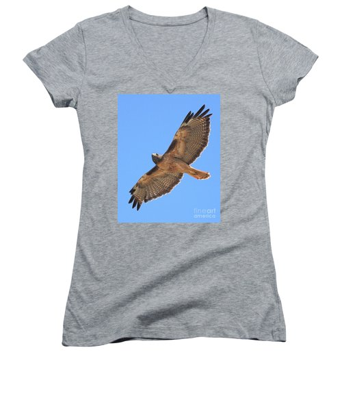 Red Tailed Hawk In Flight Women's V-Neck