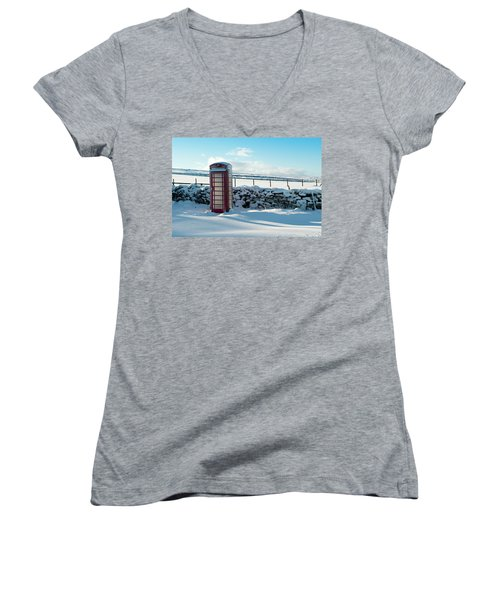 Red Telephone Box In The Snow V Women's V-Neck (Athletic Fit)
