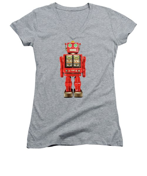 Red Tin Toy Robot Pattern Women's V-Neck T-Shirt (Junior Cut) by YoPedro
