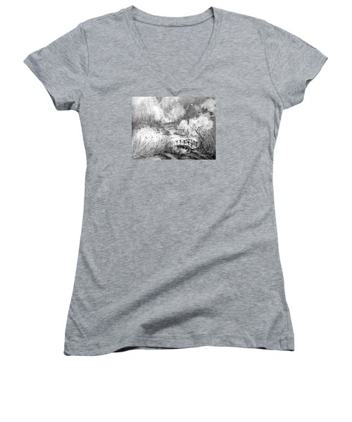 Women's V-Neck T-Shirt (Junior Cut) featuring the painting Red Top Mountain Bridge In Black And White by Gretchen Allen