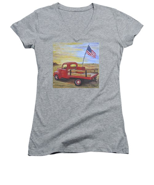 Women's V-Neck T-Shirt (Junior Cut) featuring the painting Red Truck by Debbie Baker