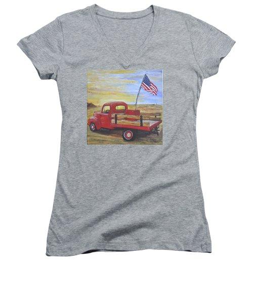 Red Truck Women's V-Neck T-Shirt