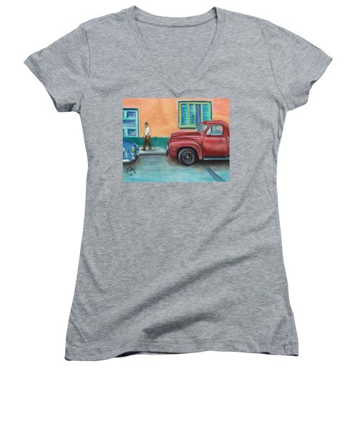 Red Truck Parked Women's V-Neck T-Shirt