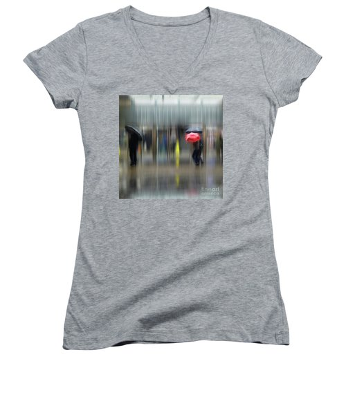 Women's V-Neck T-Shirt featuring the photograph Red Umbrella by LemonArt Photography