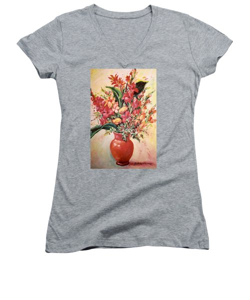 Red Vase Women's V-Neck T-Shirt
