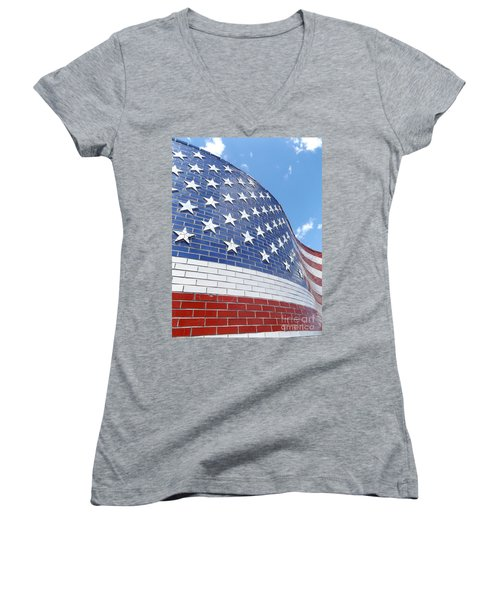 Red White And Blue Women's V-Neck T-Shirt (Junior Cut) by Erick Schmidt