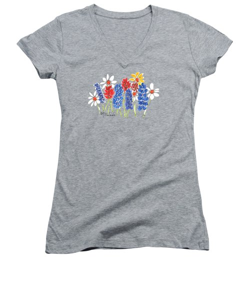 Red White And Blue Garden By Kmcelwaine Women's V-Neck T-Shirt