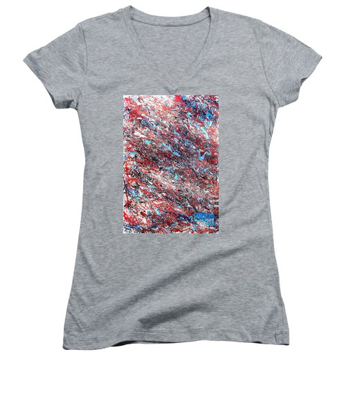 Women's V-Neck T-Shirt (Junior Cut) featuring the painting Red White Blue And Black Drip Abstract by Genevieve Esson