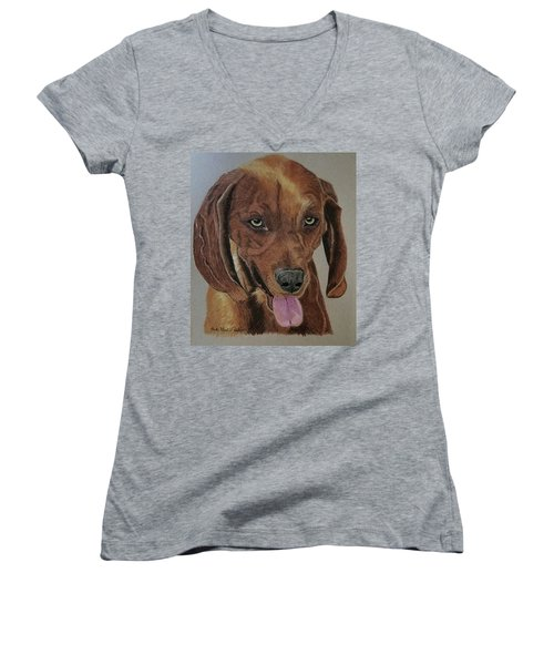 Redbone Coonhound Women's V-Neck (Athletic Fit)