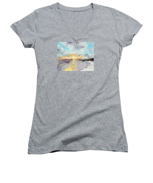 Redeemed Women's V-Neck T-Shirt (Junior Cut) by Meaghan Troup