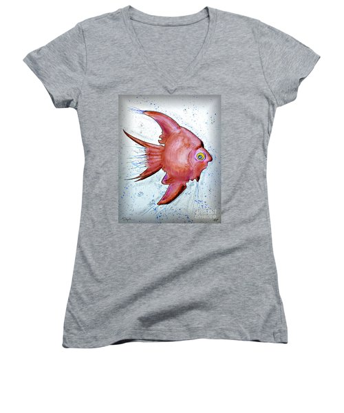 Women's V-Neck T-Shirt (Junior Cut) featuring the mixed media Redfish by Walt Foegelle