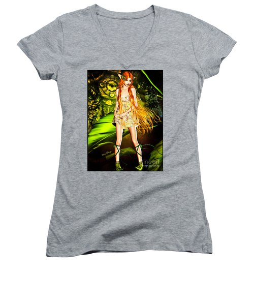 Redhead Forest Pixie Women's V-Neck T-Shirt