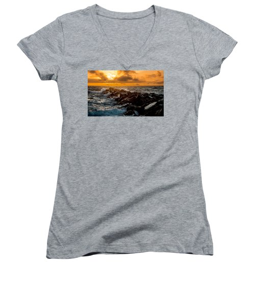 Redondo Beach Sunset Women's V-Neck T-Shirt (Junior Cut) by Ed Clark
