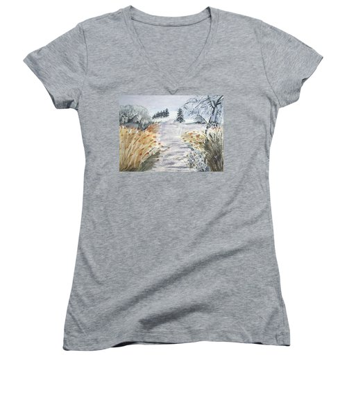Reeds On The Riverbank No.2 Women's V-Neck
