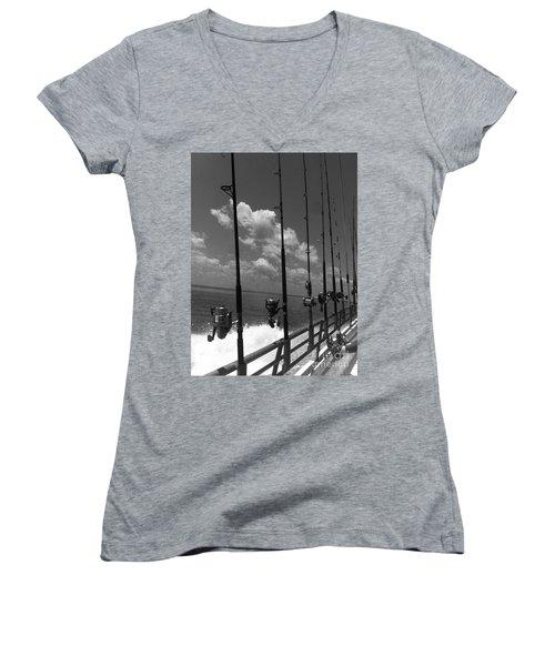Reel Clouds Women's V-Neck T-Shirt (Junior Cut) by WaLdEmAr BoRrErO