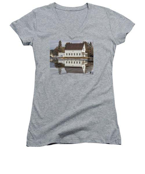 Reflected Town House Women's V-Neck T-Shirt (Junior Cut) by Tim Kirchoff