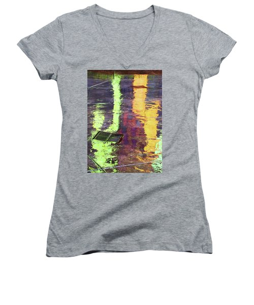 Reflecting Abstract Women's V-Neck (Athletic Fit)