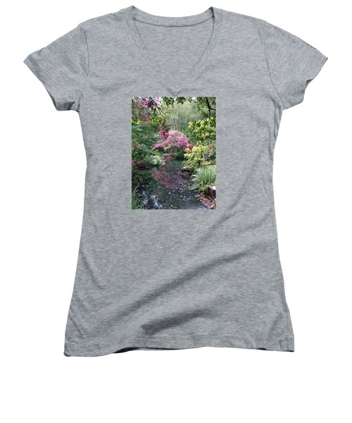 Women's V-Neck T-Shirt (Junior Cut) featuring the photograph Reflecting Crape-myrtles by Linda Geiger