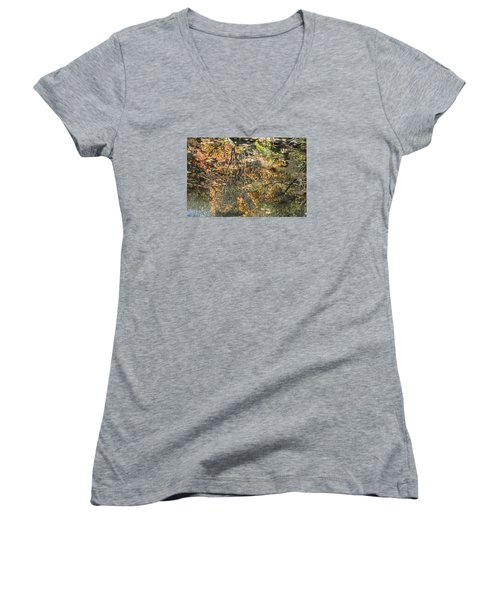 Women's V-Neck T-Shirt (Junior Cut) featuring the photograph Reflecting Gold by Linda Geiger