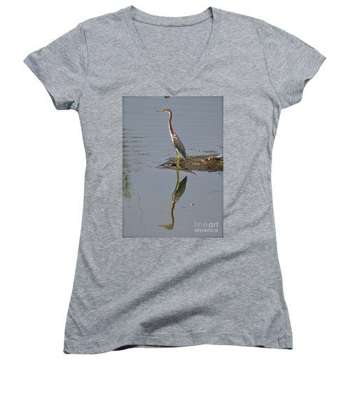 Women's V-Neck T-Shirt (Junior Cut) featuring the photograph Reflecting Heron by Carol  Bradley