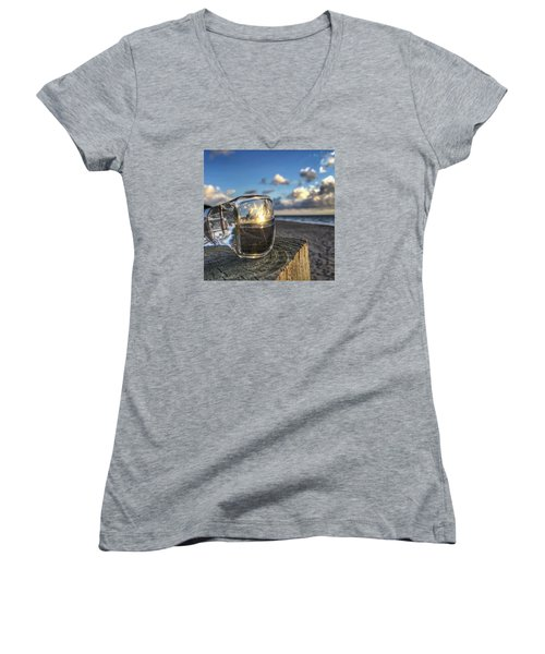 Reflecting Sunglasses Women's V-Neck T-Shirt