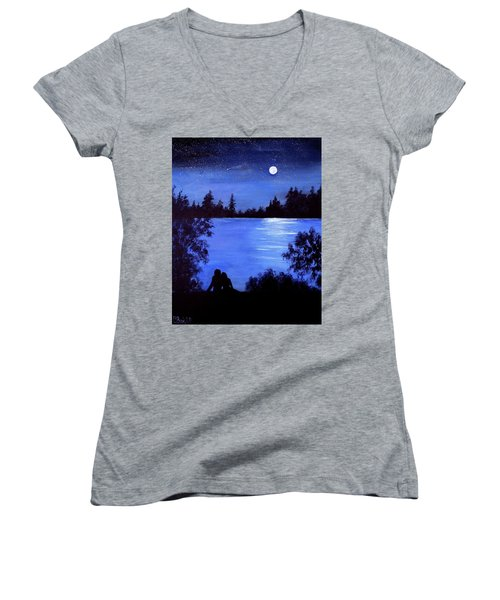 Reflection By The Water Women's V-Neck T-Shirt (Junior Cut)