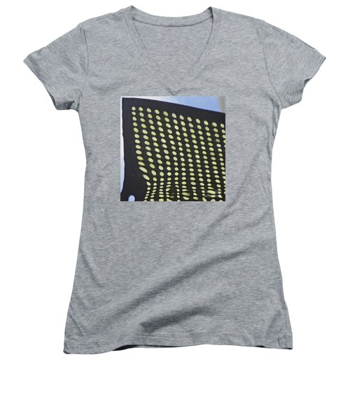 Women's V-Neck T-Shirt (Junior Cut) featuring the photograph Reflection On 42nd Street 3 by Sarah Loft
