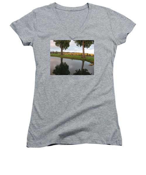 Reflections #183 Women's V-Neck T-Shirt (Junior Cut) by Barbara Tristan