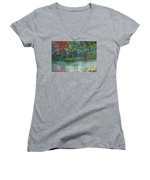 Reflections Along The Water Women's V-Neck (Athletic Fit)