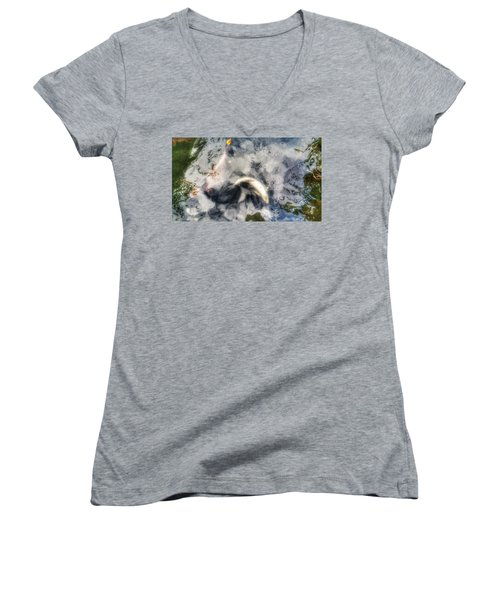 Reflections And Fish 8 Women's V-Neck T-Shirt (Junior Cut) by Isabella F Abbie Shores FRSA