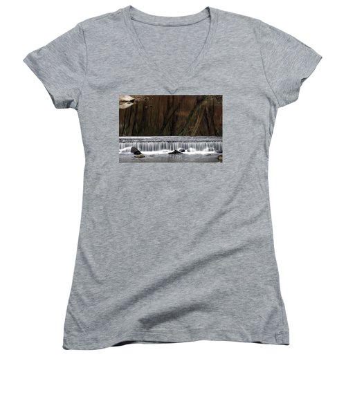Reflections And Water Fall Women's V-Neck T-Shirt (Junior Cut) by Dorin Adrian Berbier