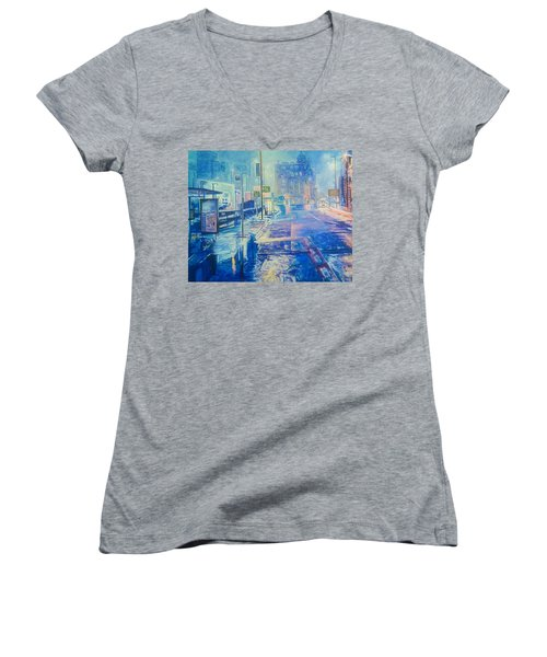 Reflections At Night In Manchester Women's V-Neck T-Shirt