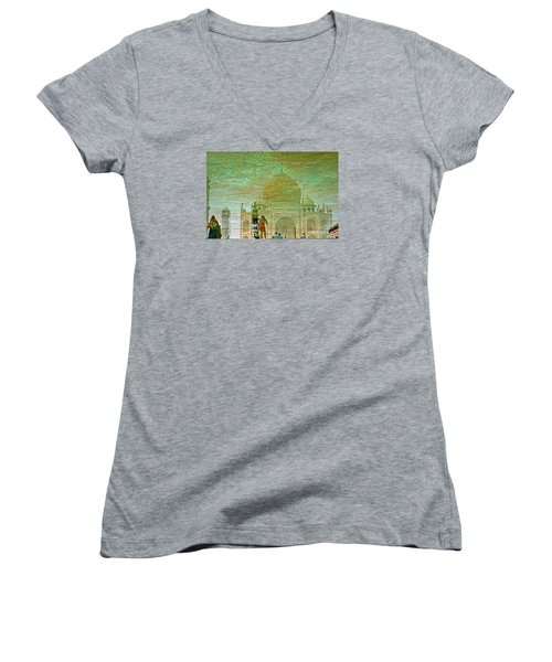 Reflections At The Taj Women's V-Neck T-Shirt (Junior Cut) by Michael Cinnamond