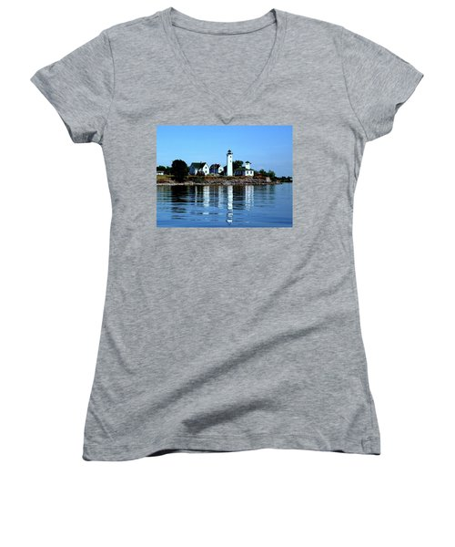 Reflections At Tibbetts Point Lighthouse Women's V-Neck (Athletic Fit)